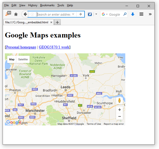 Google Maps - Continuing with the Leeds example · GEOG5870 ... on google maps europe, google maps arcgis, google maps gps, google maps political map, google maps grid, google maps heatmap, google maps satellite imagery, google maps app, google maps plat maps,